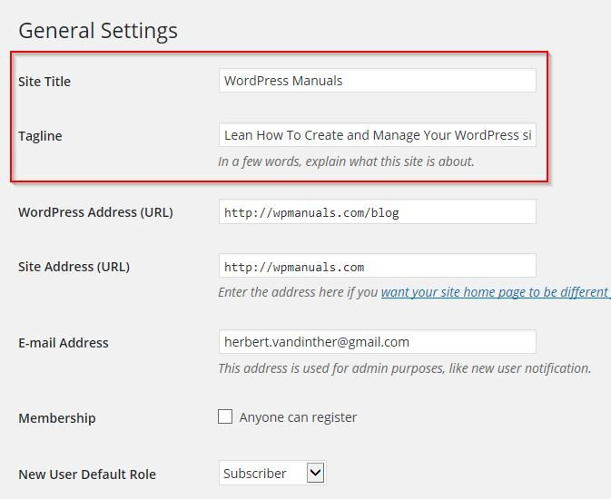 General Settings ‹ WordPress Manuals