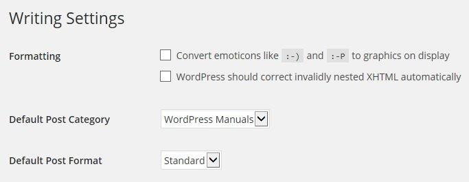 Writing Settings ‹ WordPress Manuals