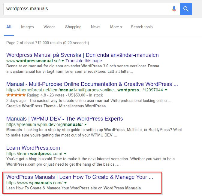 Google search results for WordPress manuals in September 2016