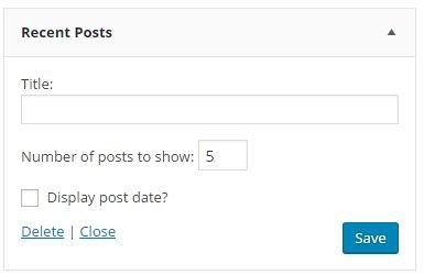 Recent Posts Widget Options